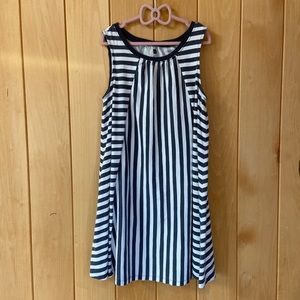 Tea Collection charcoal and white striped dress